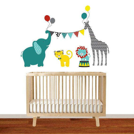 nursery wall circus elephant giraffe lionwallartdesign on etsy