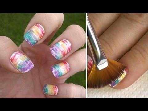 Rainbow Nails By Multi Effect Fan Brush Diy Easy Nail Art For Beginners 2 Nail Art For Beginners Simple Nail Art Designs Nail Art Stripes