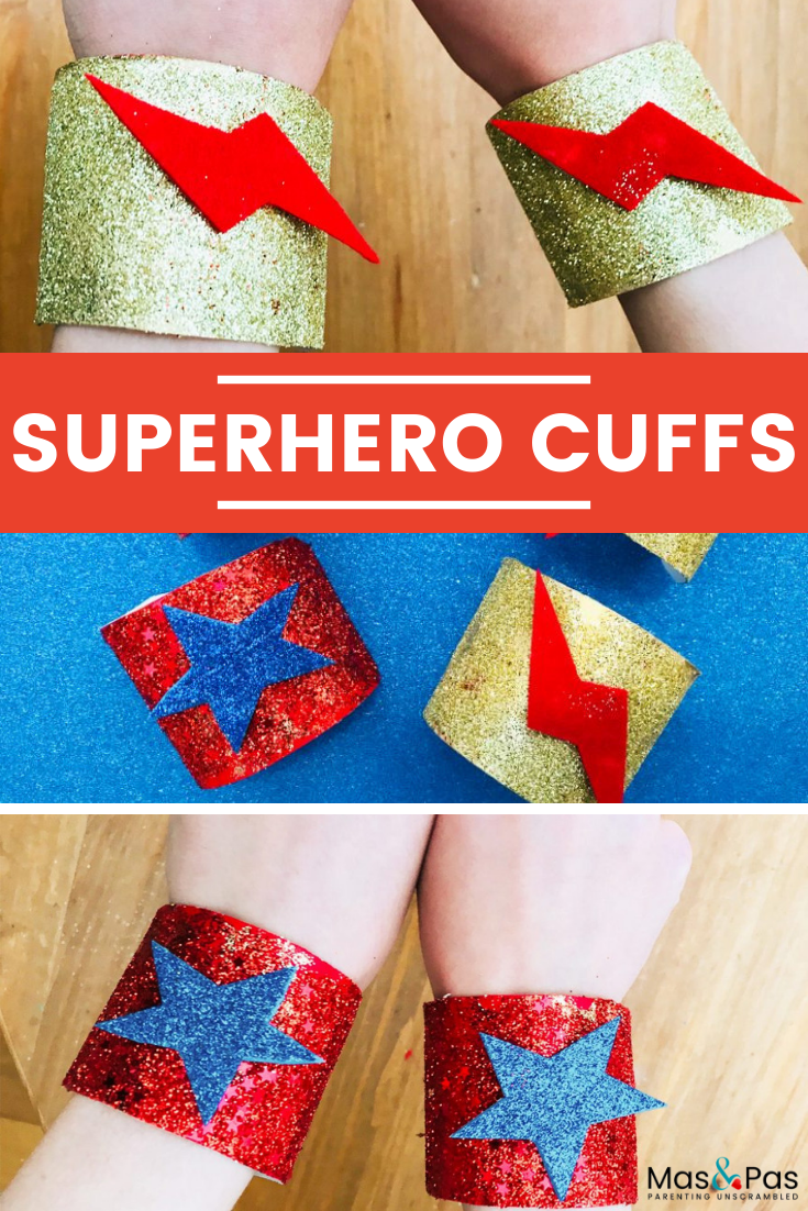 Let your little superhero shine with these quick and easy to make superhero cuffs! n minutes you can create some sparkly and colourful superhero cuffs for them to wear, to charge them with all kinds of super powers. This is a quick and easy superhero craft for kids. #kidcraft #crafts #kidactivity #superhero