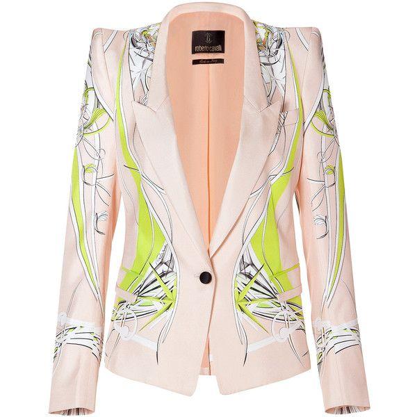ROBERTO CAVALLI One Button Silk Blazer in Yellow/Pink-Multi found on Polyvore