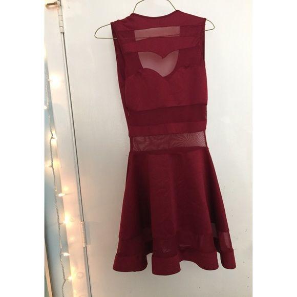 Mini Red Mesh Paneled Skater Dress | red | slim fit | stretchy | soft | mesh panel | skater skirt | cute | flirty | sexy | new | date night | cocktail | girls night | Dresses Mini