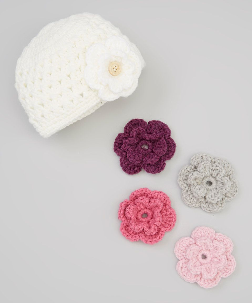 Marili Jean Cream Beanie & Interchangeable Flower Clip Set today ...