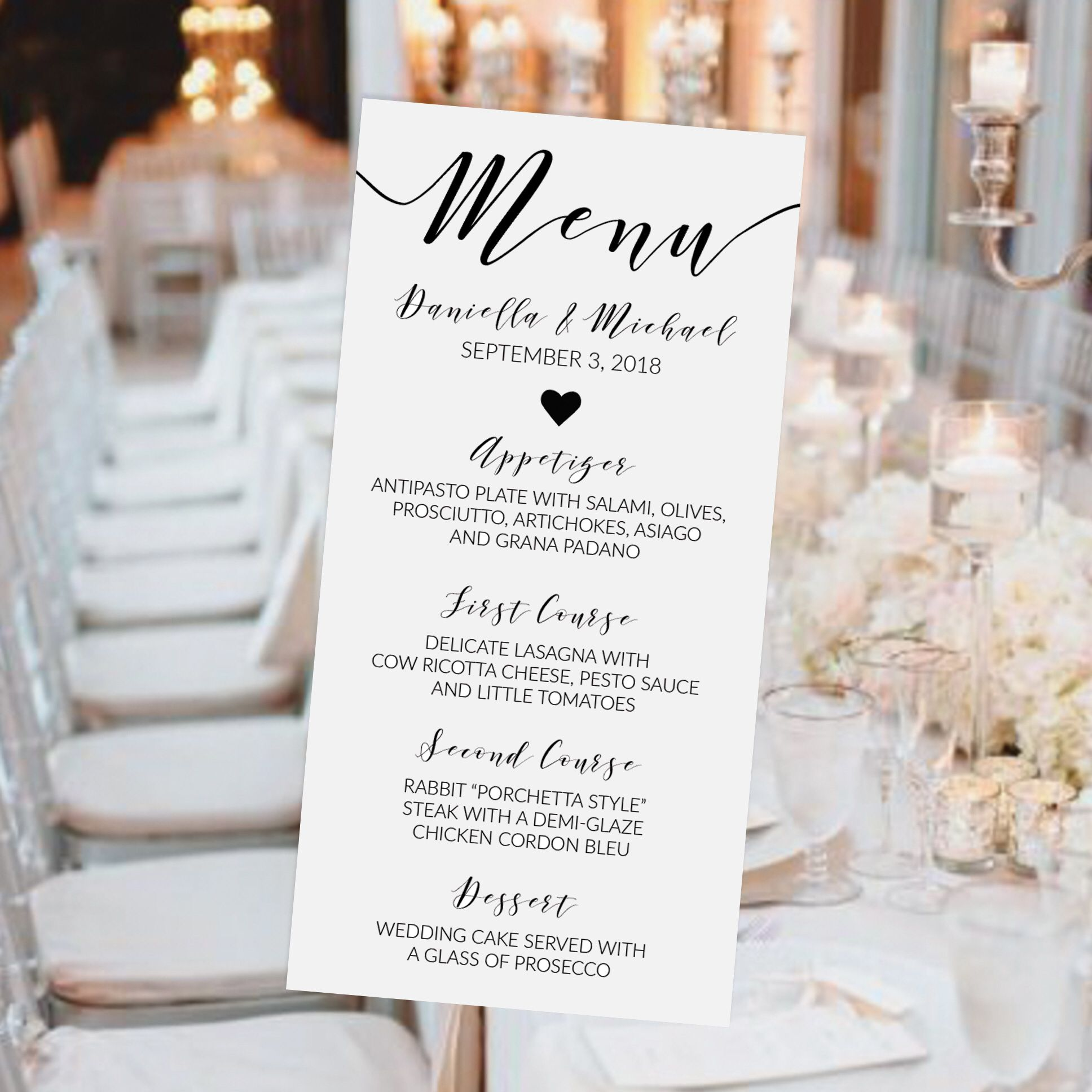 Wedding decorations lilac september 2018 Classic Wedding Menu Printable Rustic Wedding Menu Template Bridal