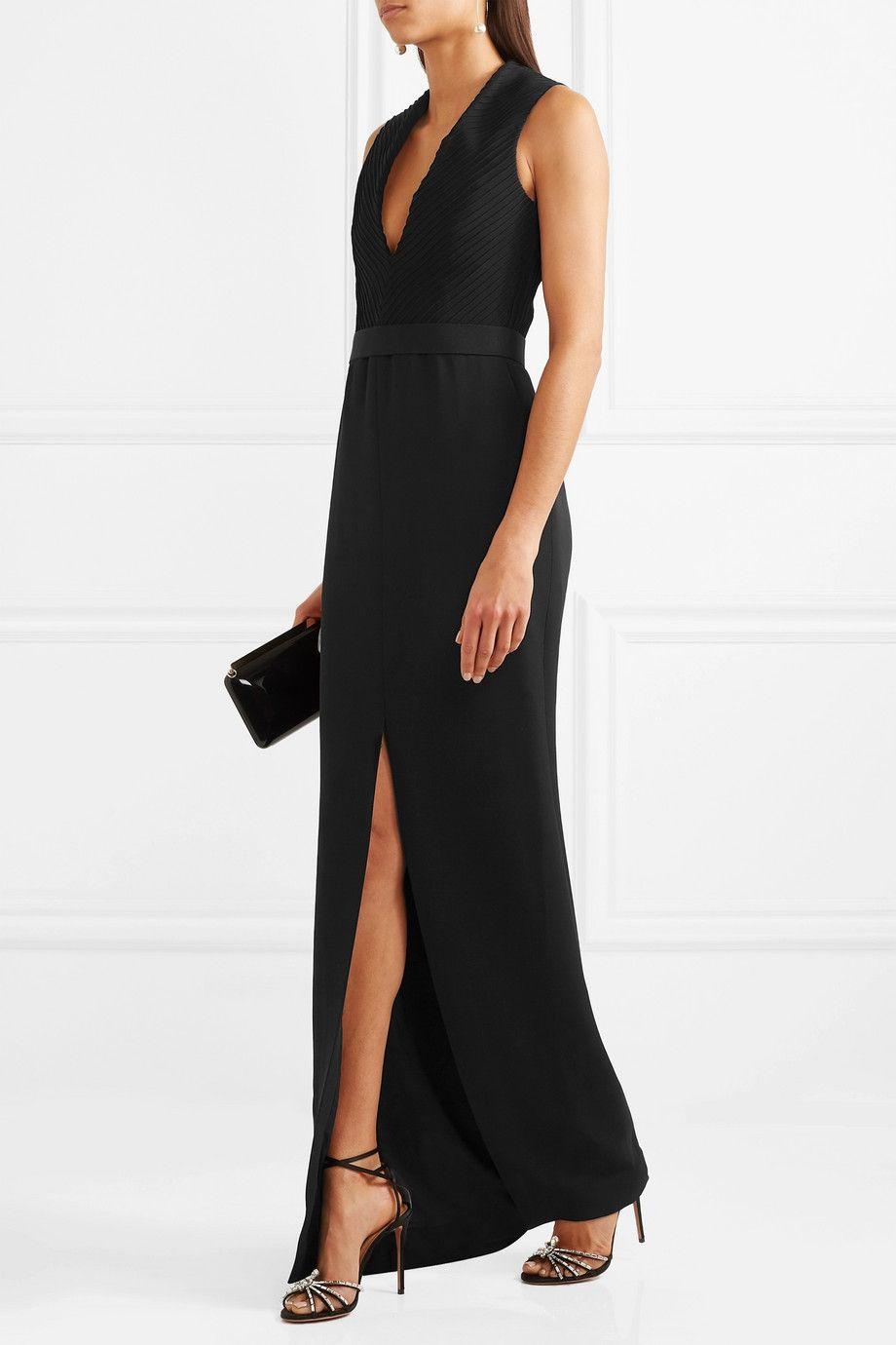 Pintucked Crepe Gown - Black Brandon Maxwell clv5ja