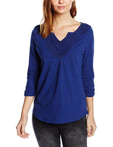 ESPRIT Damen Langarmshirt mit toniger Stickerei, Gr. 36 (Herstellergröße: S), Blau (NAVY 400)
