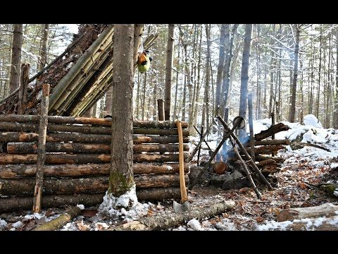 Solo Bushcraft Camp  2 Nights in the Snow - Natural Shelter
