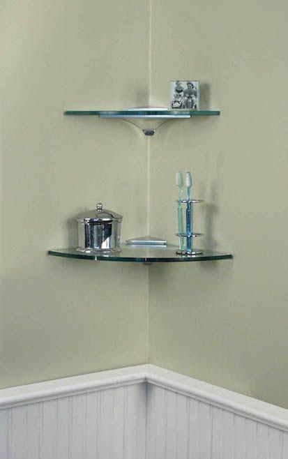 Corner glass shelves Wonderful Glass Shelves for Bathrooms