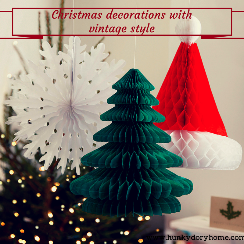 Vintage style paper Christmas decorations from www.hunkydoryhome.com