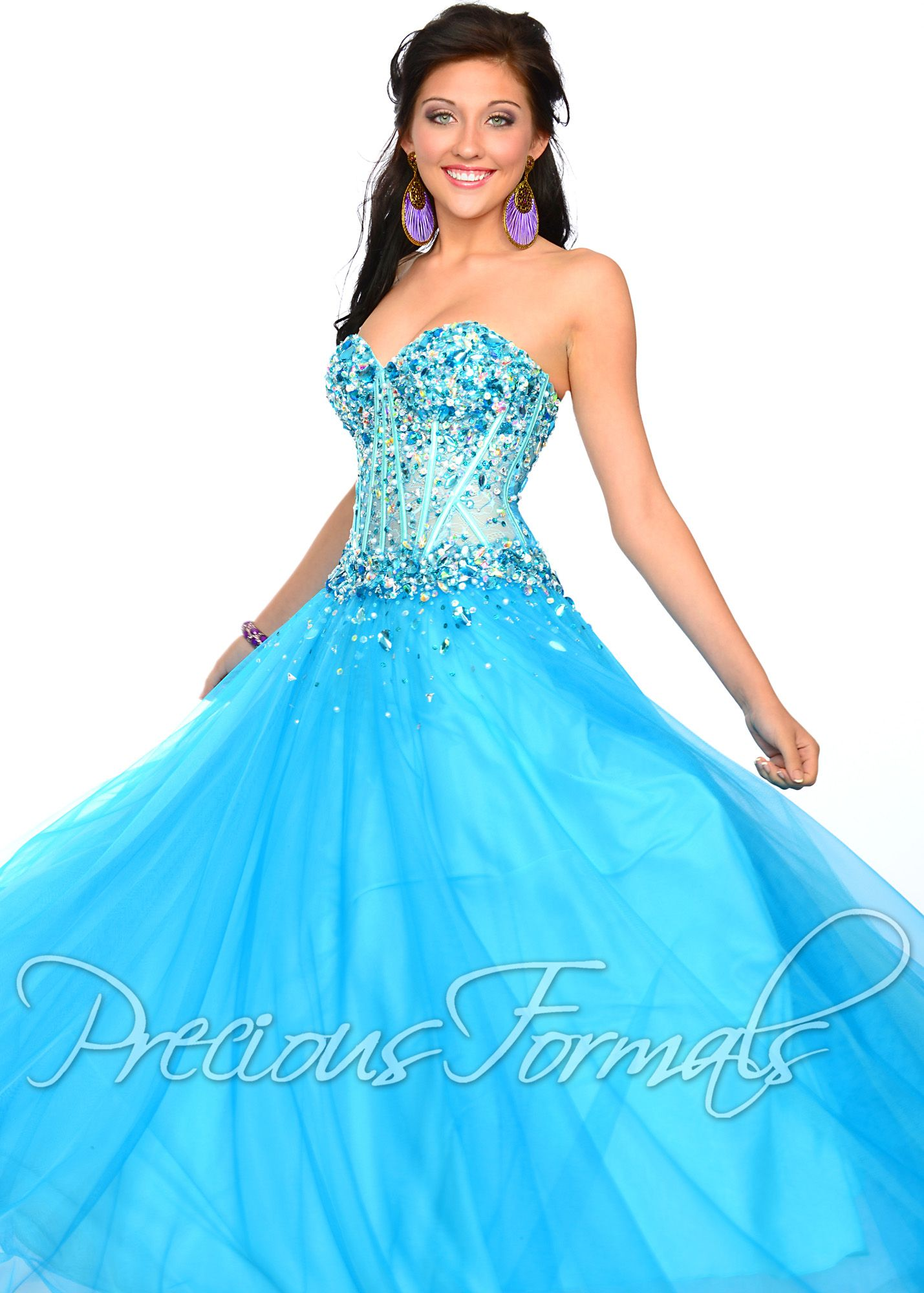 thepromdresses Precious Formals O10534 - Turquoise Strapless Lace ...