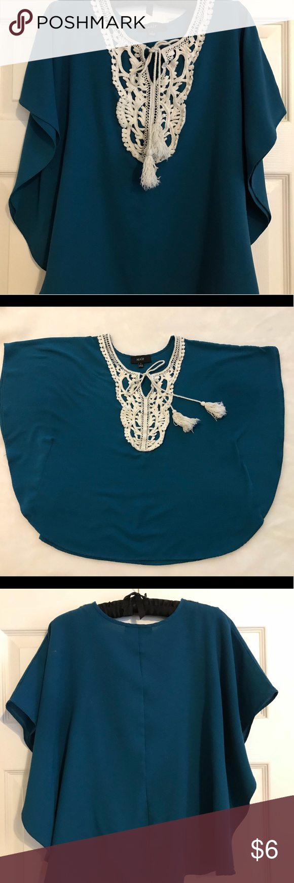 Naïf flows teal blouse Flowy teal blouse with lacy closure detail. Naif Tops Blouses