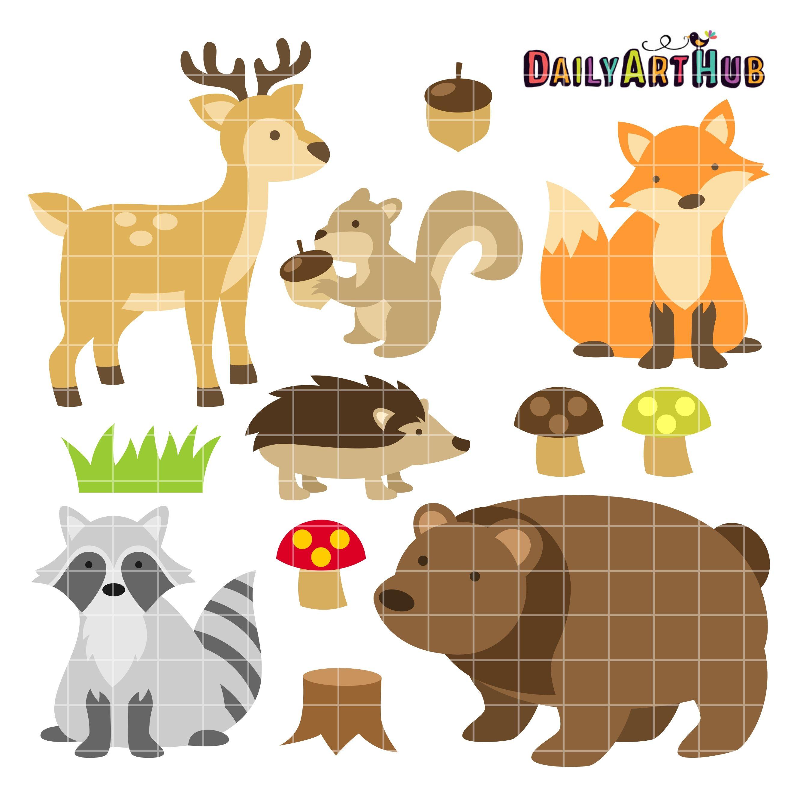 Woodland Animals Clip Art Set Woodland Animals Woodland Animal Nursery Animal Nursery