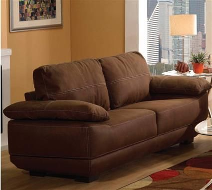 Memphis Chocolate Leather Wood Tight Back Sofa   By Acme Furniture