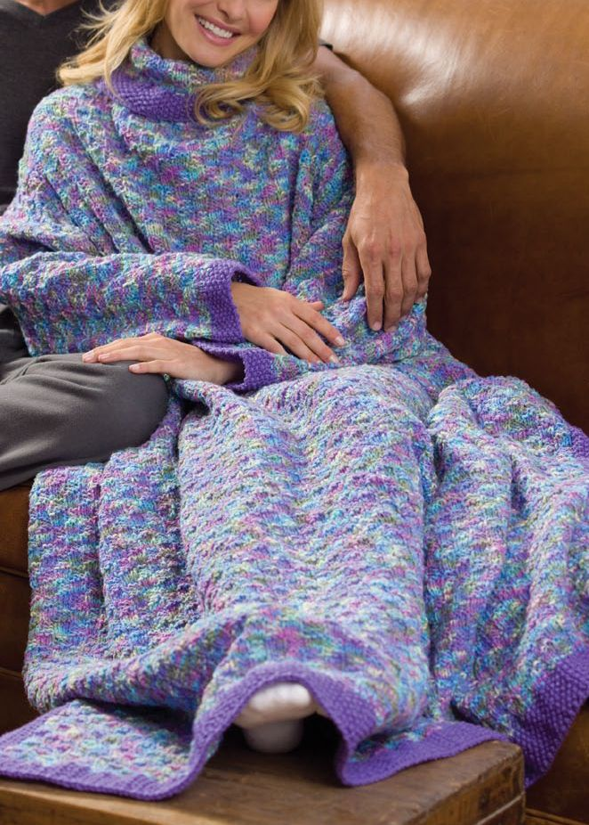 Free Knitting Pattern for Monet\'s Garden Sleeved Throw - Cozy afghan ...