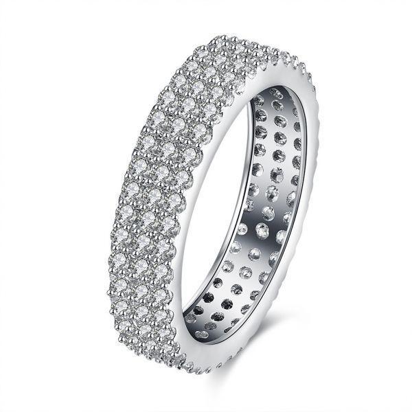Inalis Zircon Full Around Platinum Width Ring Gift Wedding Finger