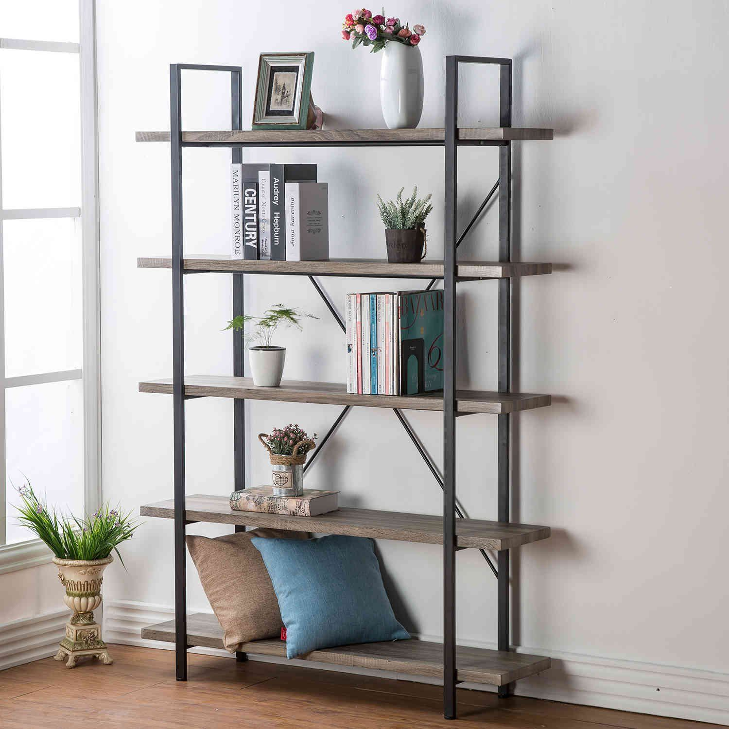 HSH Furniture Vintage Industrial Bookcase, Wood and Metal Rustic Open  Bookshelf, Dark Oak