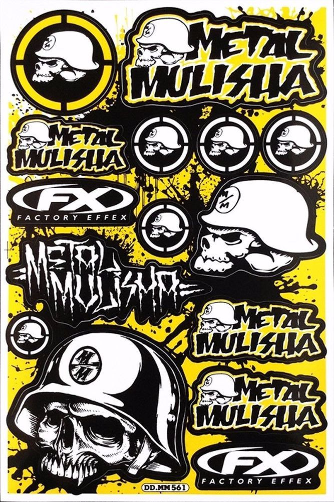 New Skull Metal Mulisha Stickers Decals Motocross  Bike and  Car Racing 5 sheets