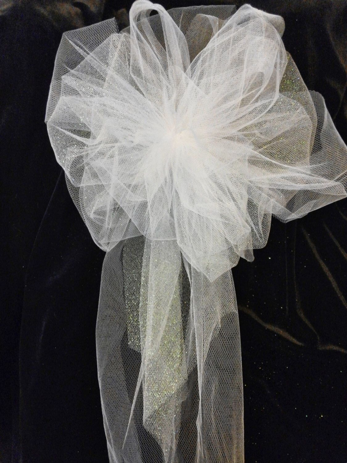Wedding pew bows white or any color you choose tule bows with wedding pew bows white or any color you choose tule bows with streamers junglespirit Choice Image