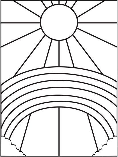 Rainbow and Sun Coloring Page | Plástica, Falso vitral y Colorear