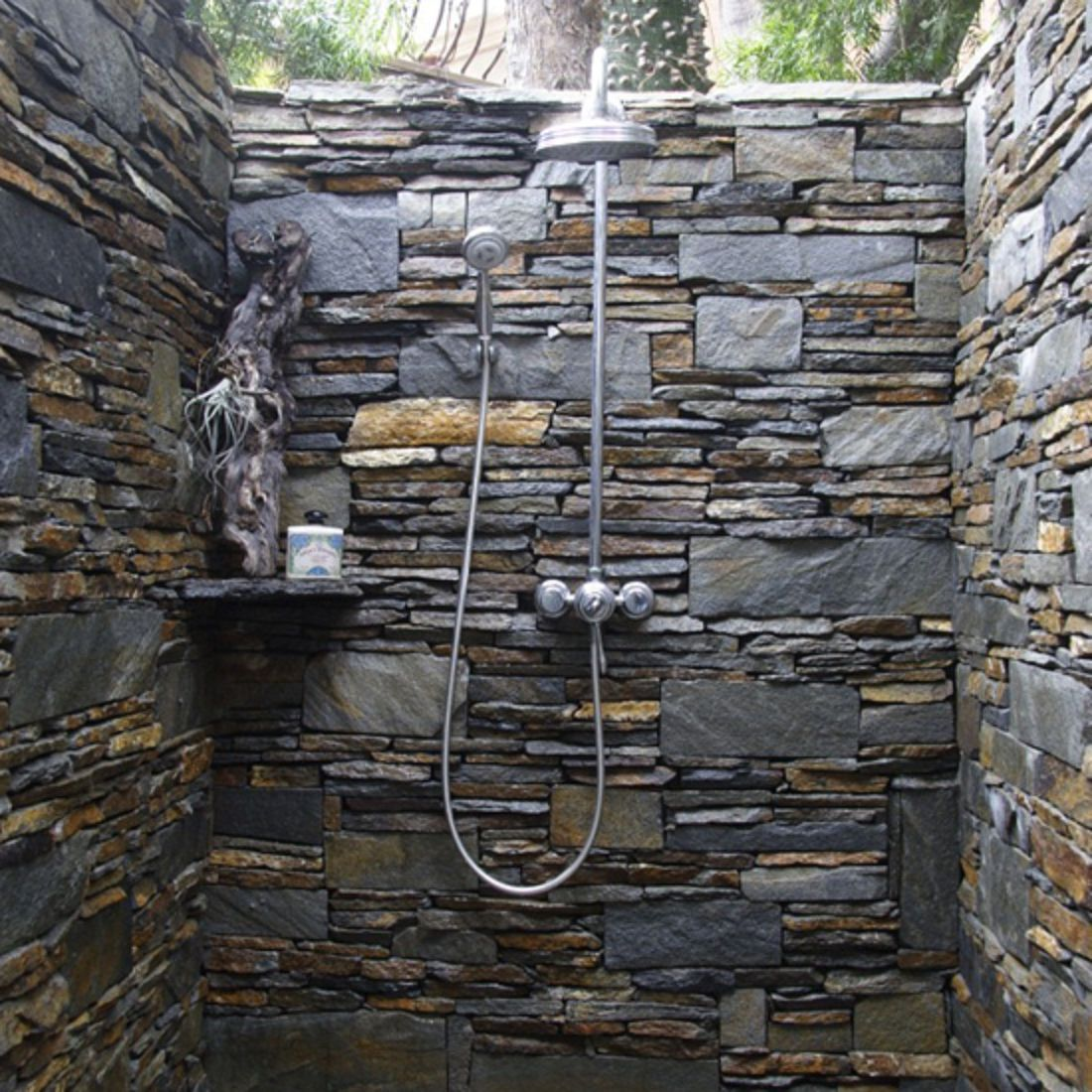Bathroom beautiful outdoor shower with natural decor and for Stone wall art