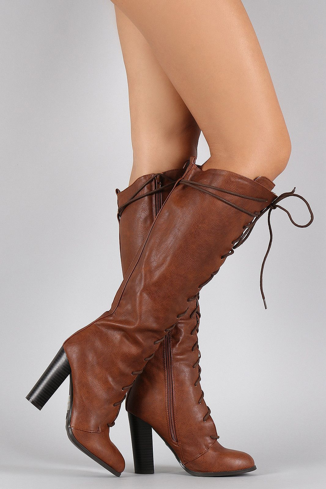 095315254d6 Qupid Round Toe Lace Up Heeled Combat Knee High Boot