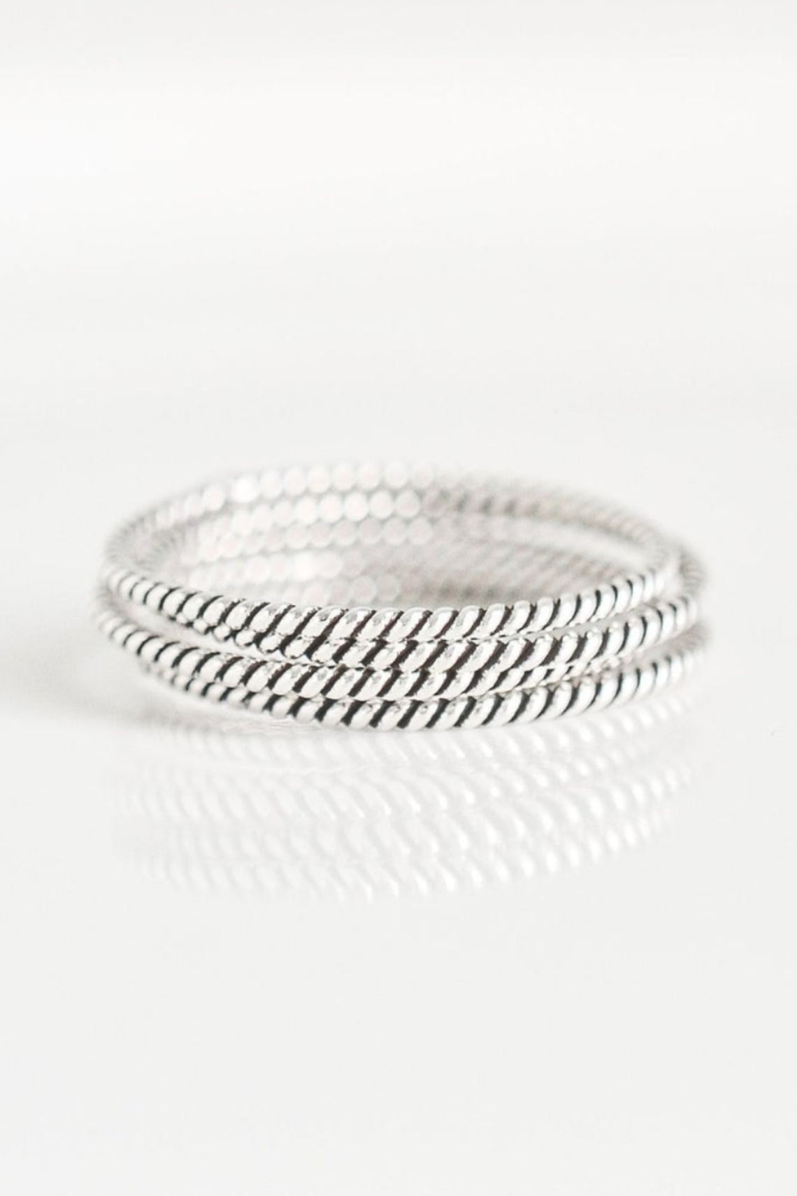 Silver Twist Stacking Ring Thin Stackable Band Everyday Ring Sterling Silver Minimalist Rings
