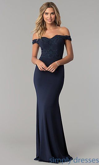 492ddbf8a503 Long Off-the-Shoulder Embroidered-Lace Prom Dress  