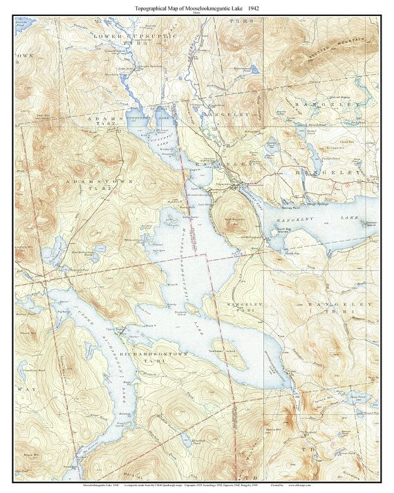 Topo Map Of Maine.Mooselookmeguntic Lake 1942 Old Topographic Map Usgs Custom Maine