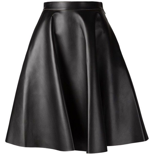 MSGM Faux Leather Skirt ($475) ❤ liked on Polyvore featuring skirts, kirna zabete, faux leather a line skirt, red a line skirt, knee length skirts, black a line skirt and pleated skirt
