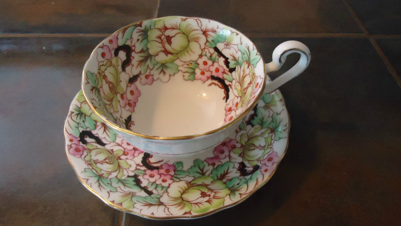 Vintage Victoria C&E Bone China Hand Painted Peony Teacup and Saucer, England