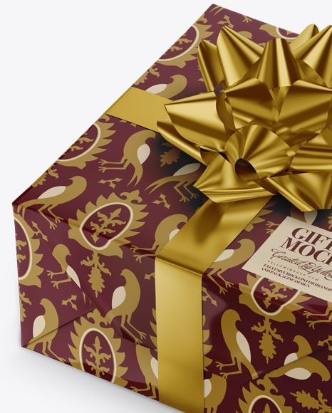 Glossy Gift Box with Metallic Bow Mockup Close-Up