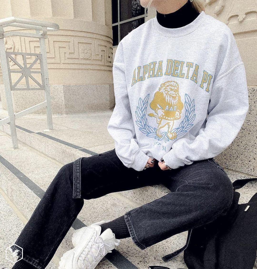 Alpha Delta Pi Crest Crewneck Universitytees Sweatshirts Sorority Sweatshirts Sorority Shirts [ 1129 x 1080 Pixel ]