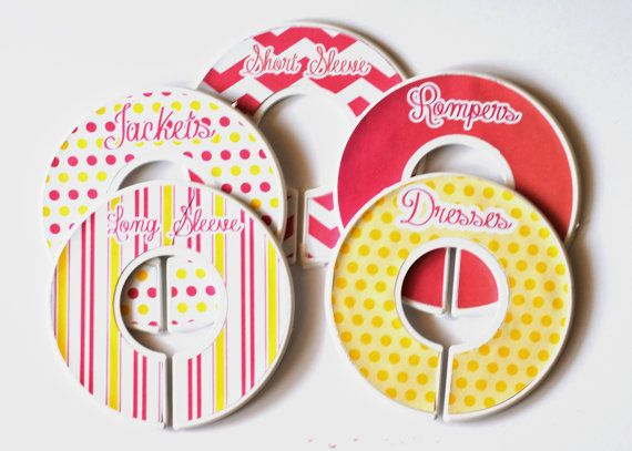 These adorable clothing dividers are a must have for any mom! These make for great gifts and can be tailored to say whatever you want. Please specify what sizes or wording you want.   They can be made for:  baby {0-3, 3-6, 6-9, 9-12, 12-18, 18-24}  Children {T-shirts, long sleeve, dresses, outer wear, pants, play clothes, etc...}  Even days of the week {Monday, Tuesday, Wednesday, Thursday, Friday}.