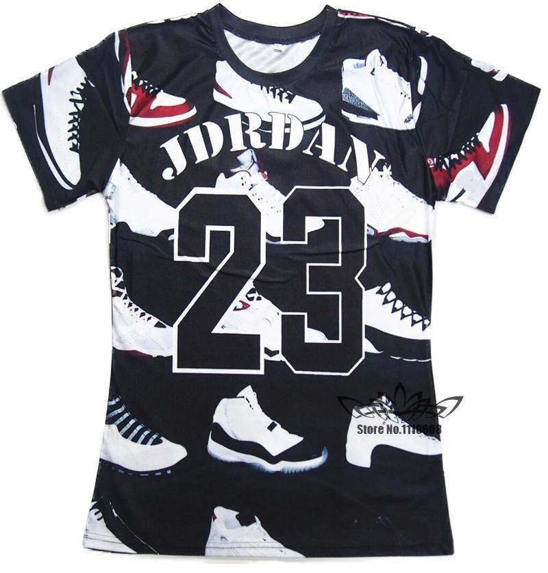 581fe56dd9d02f 2016 Summer Pure American Special Cut T Shirt Men Women JORDAN 23 Classic  Shoes Printed 3D Streetwear Hip Hop T Shirts