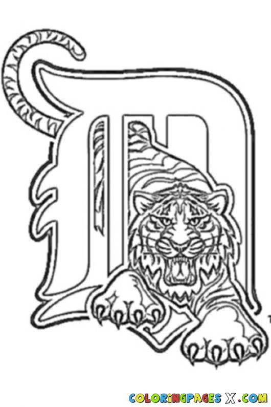 detroit tigers logo coloring page  coloring pages