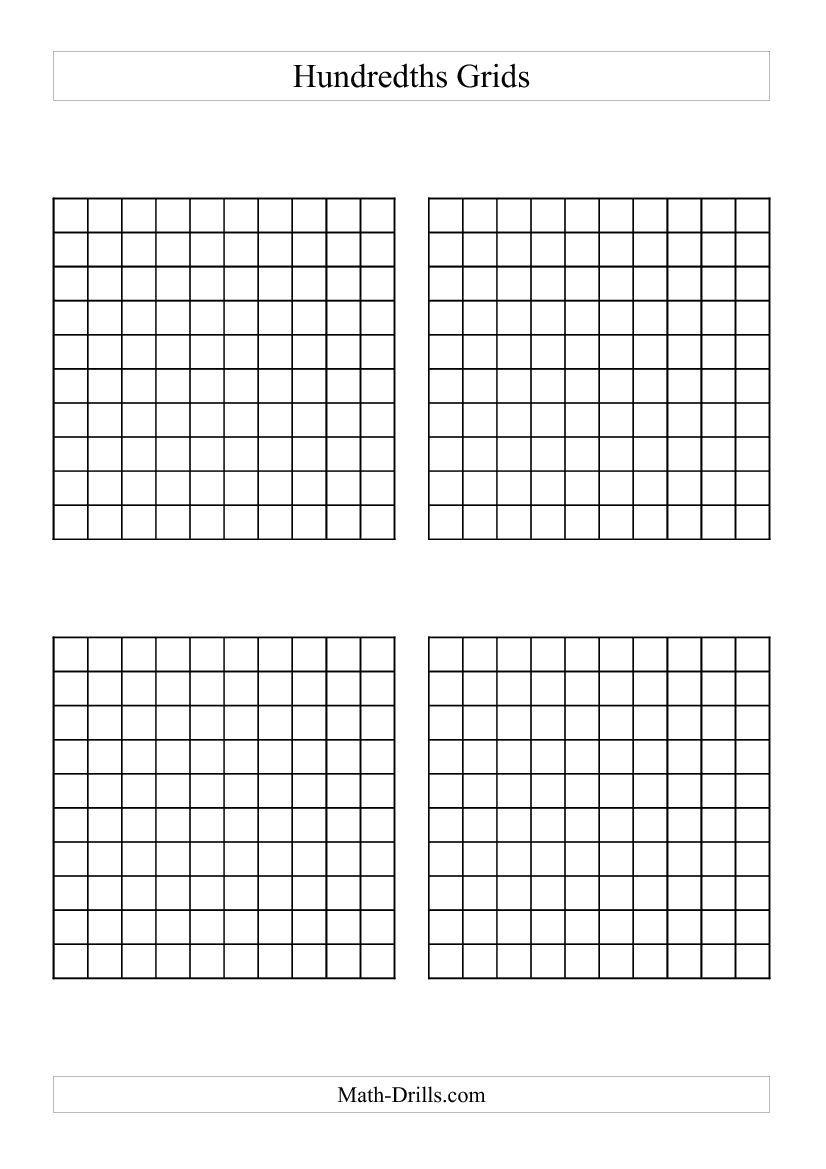 4 x Hundredths Grids (A) | Computations | Pinterest | Math, Math ...