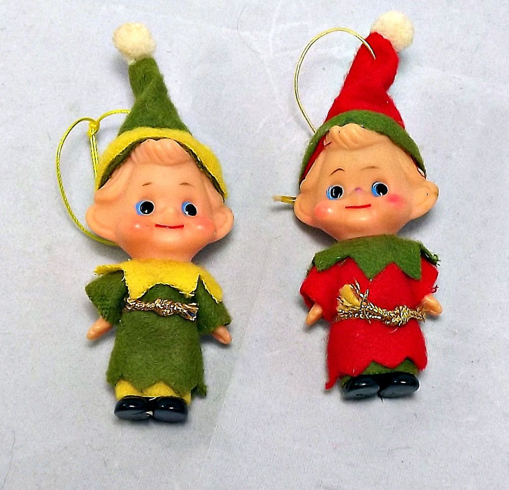 Vintage Elf Doll Christmas Ornaments Made In Japan Set Of