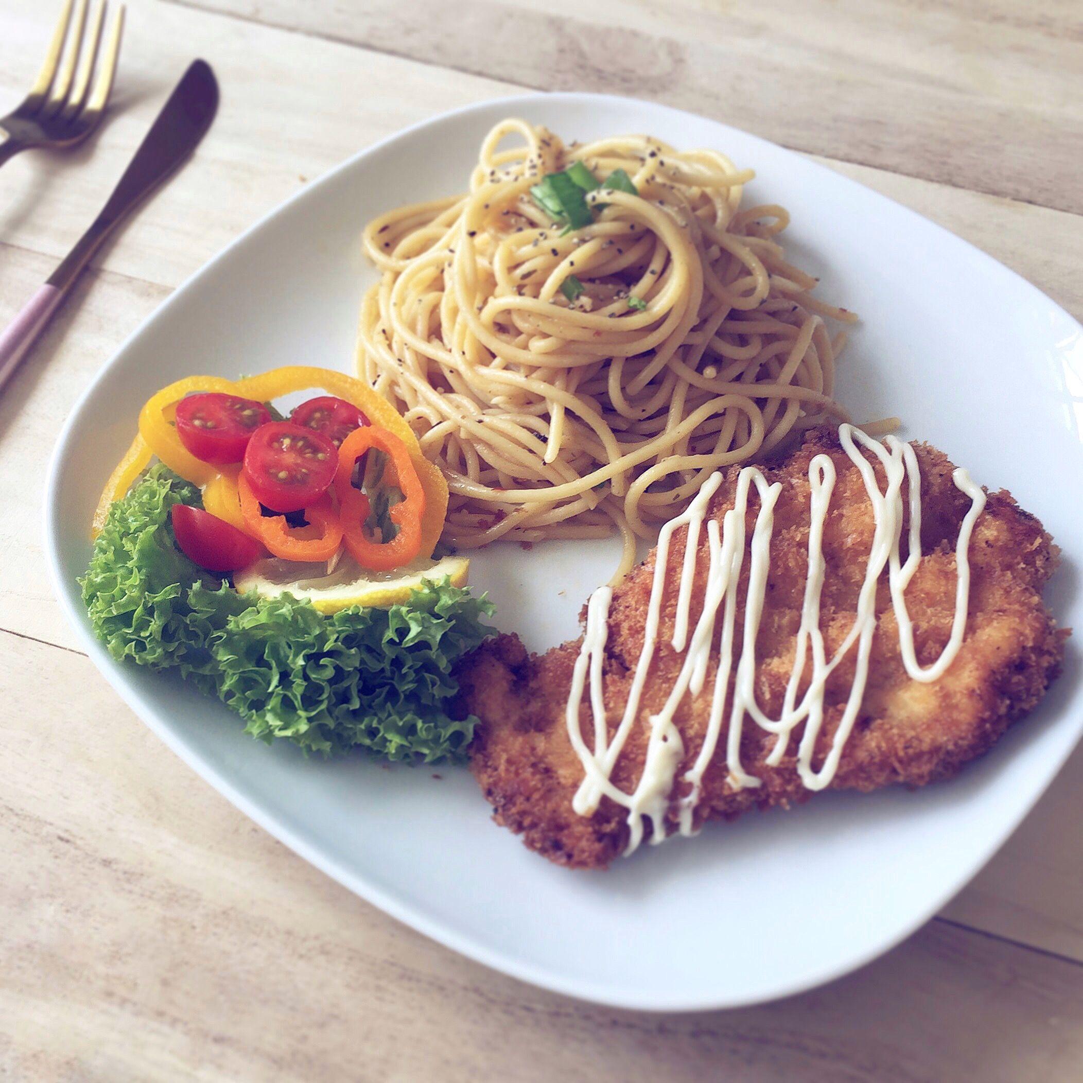 Homemade Chicken Katsu Aglio Olio For Lunch Resep