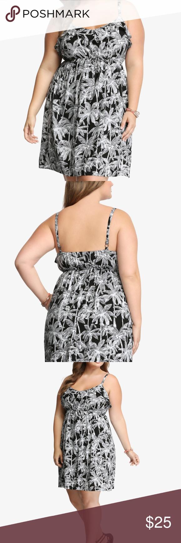Torrid palm print ruffle dress size torrid womens plus size