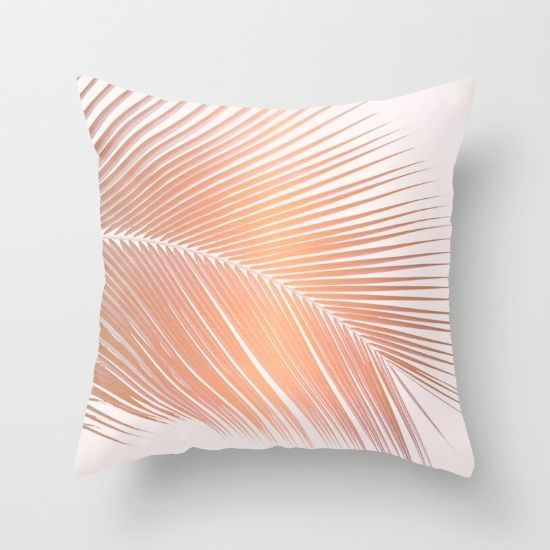For The Office Palm Leaf Frond In Copper Rose Gold Tones With A Pink Background Tropical Trendy Hawai Copper And Pink Throw Pillows Hawaiian Throw Pillows