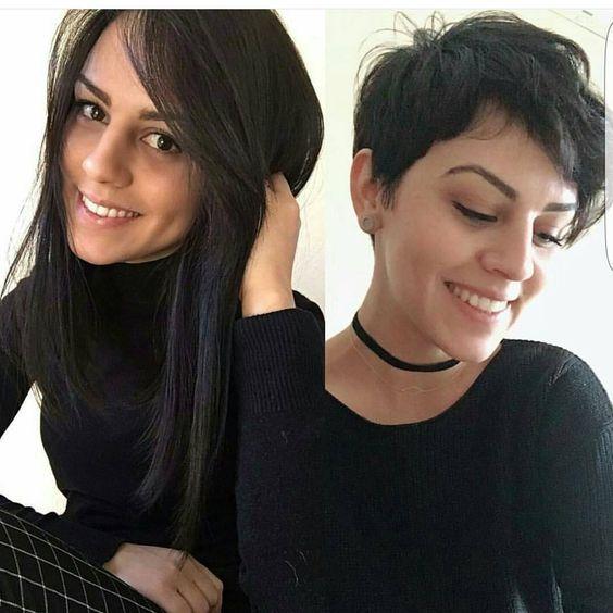 10 Trendy Vor Und Nach Transformationen Von Langen Haaren Zu Kurzen