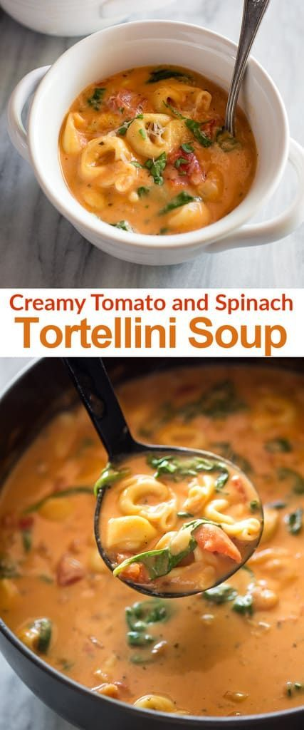 Creamy Tomato and Spinach Tortellini Soup with fresh basil, diced tomatoes, and spinach is healthy comfort food that's easy and delicious! #tortellinisoup #easy #healthy #tomato #tastesbetterfromscratch  via @betrfromscratch
