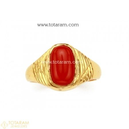 22K Gold Men s Ring with Coral 235 GR3204 Buy this Latest