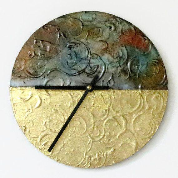 Wall Clock Gold Leaf Etsy Art Pearl Faux Metal by Shannybeebo ...