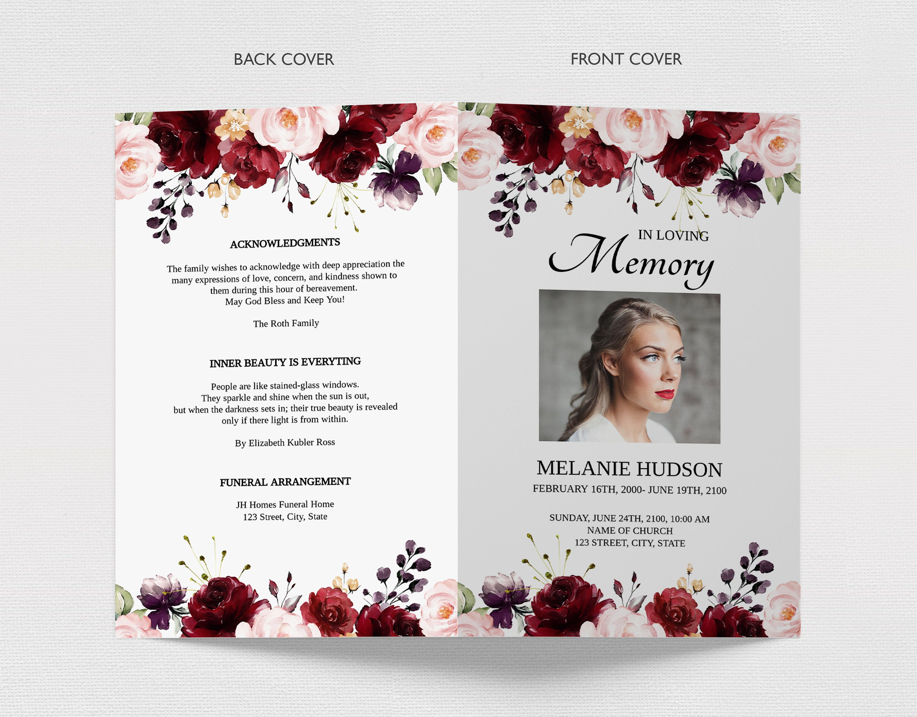 Editable Funeral Program Template With Burgundy Roses