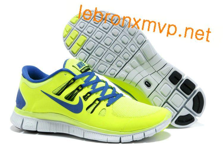 Pas Cher Nike Free Run+ 4 Hommes Volt couleur noire Barely Volt Hyper Bleu  579959 034