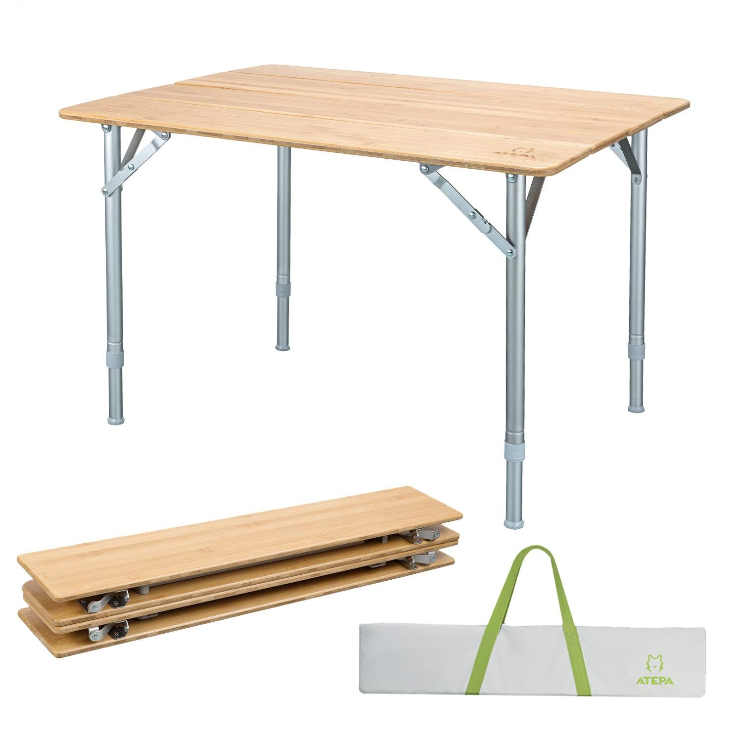 - ATEPA Bamboo Folding Camping Table With Carrying Bag, Adjustable