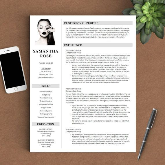 Pages Templates Resume Modern Resume Template With Picture For Word & Pages  1 2 And 3 .