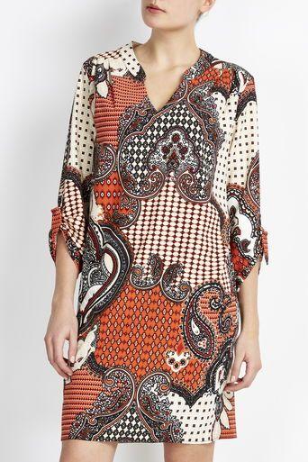 0d3167b8608fa Rust Paisley Tunic Dress   old dress prints   Vestidos, Moda, Moda y ...