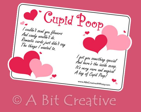 Cute Valentine idea Cupid Poop DIY candy tag  A Bit Creative by