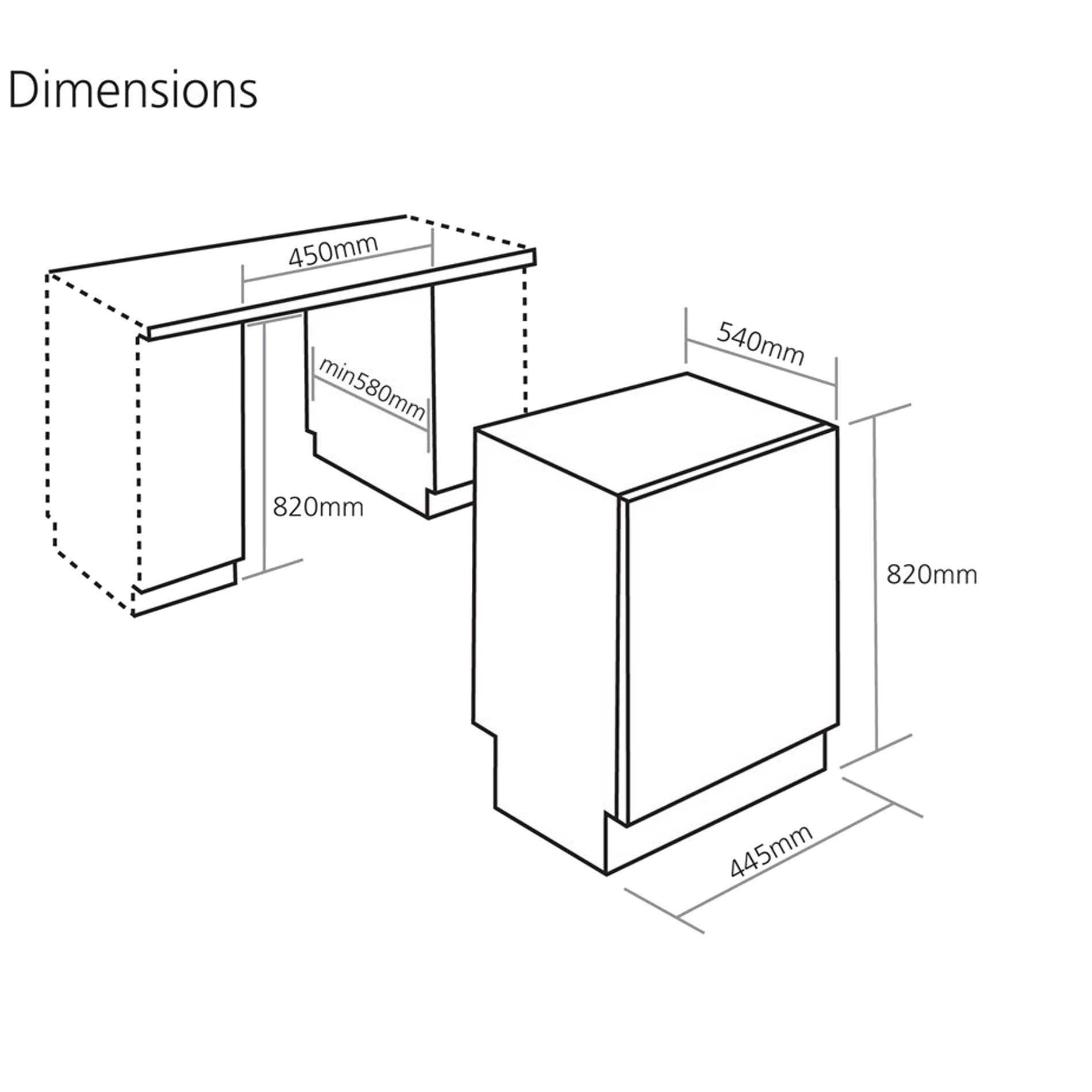 Caple di482 slimline fully integrated dishwasher fully